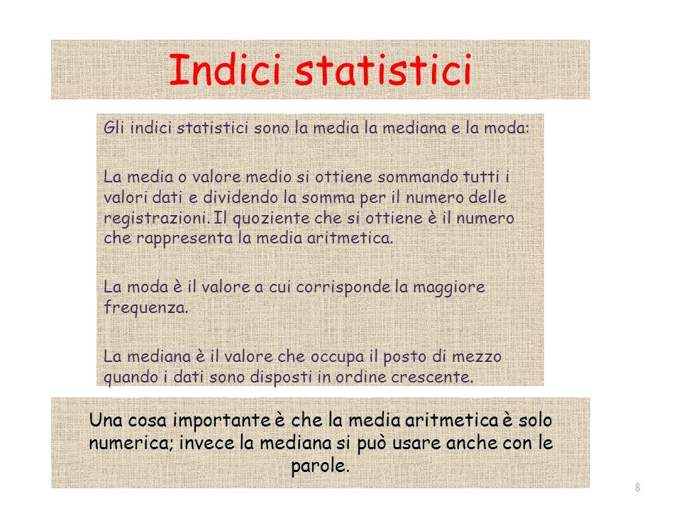 Indici statistici Gli indici statistici sono la media la mediana e la moda: