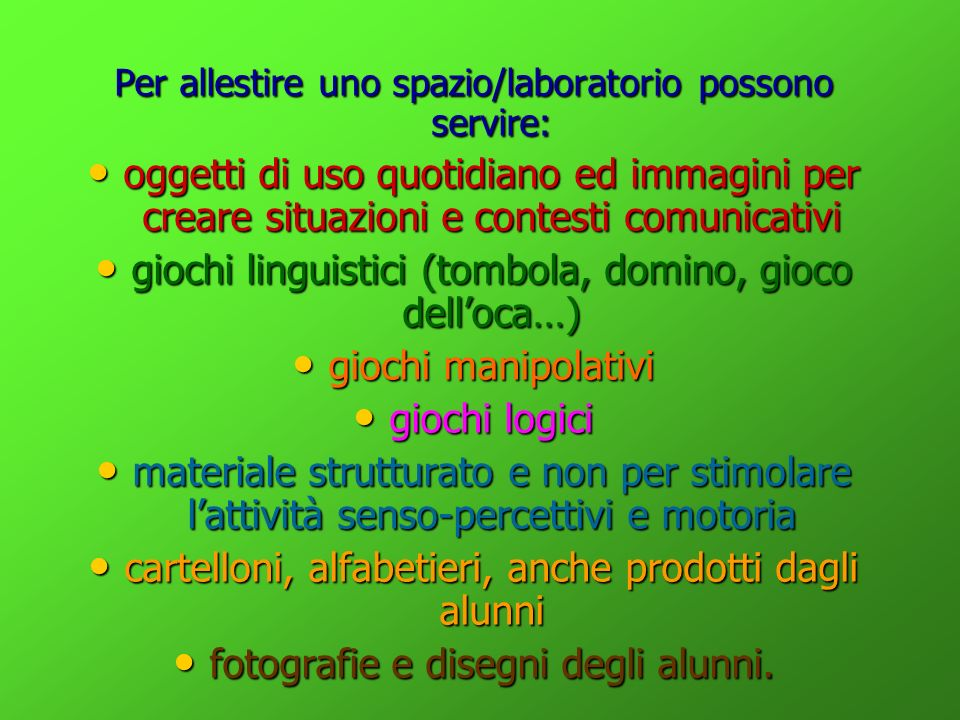 giochi linguistici (tombola, domino, gioco dell'oca…)