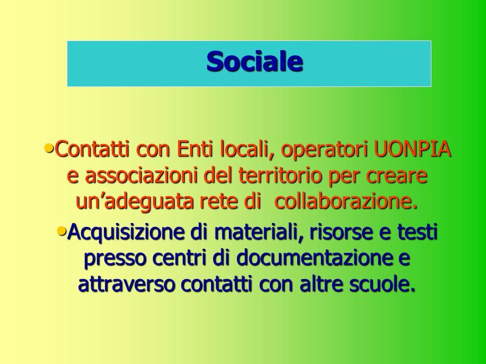 Sociale Contatti con Enti locali, operatori UONPIA e associazioni del territorio per creare un'adeguata rete di collaborazione.