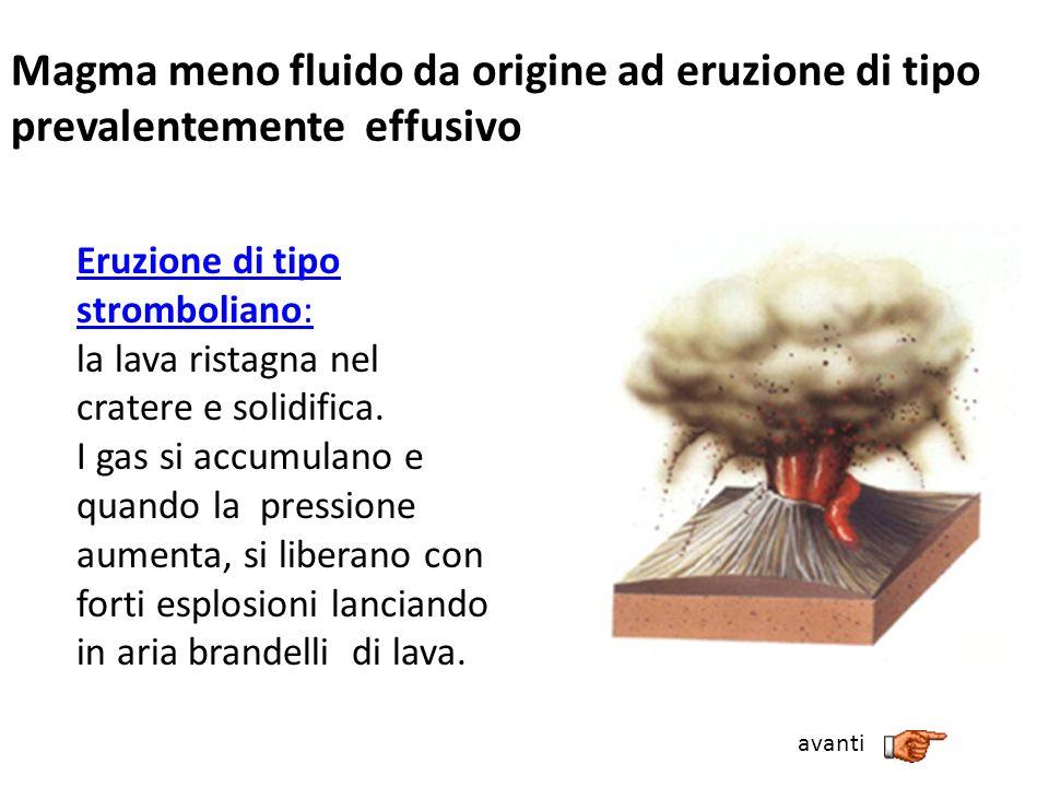 Magma meno fluido da origine ad eruzione di tipo prevalentemente effusivo