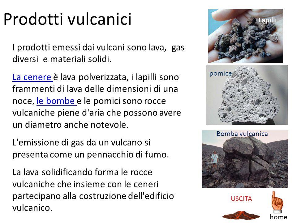 Prodotti vulcanici Lapilli. I prodotti emessi dai vulcani sono lava, gas diversi e materiali solidi.
