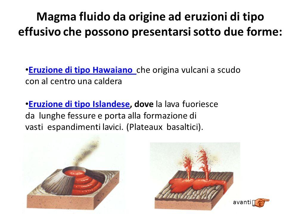 Magma fluido da origine ad eruzioni di tipo effusivo che possono presentarsi sotto due forme: