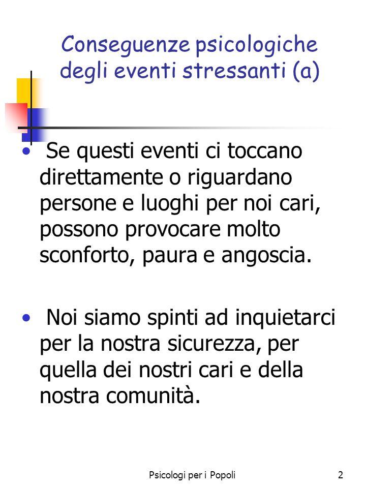 Conseguenze psicologiche degli eventi stressanti (a)
