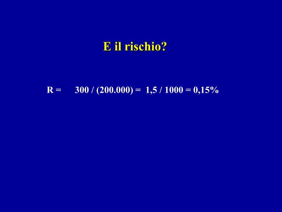 E il rischio R = 300 / (200.000) = 1,5 / 1000 = 0,15%