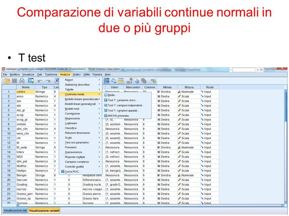 Comparazione di variabili continue normali in due o più gruppi