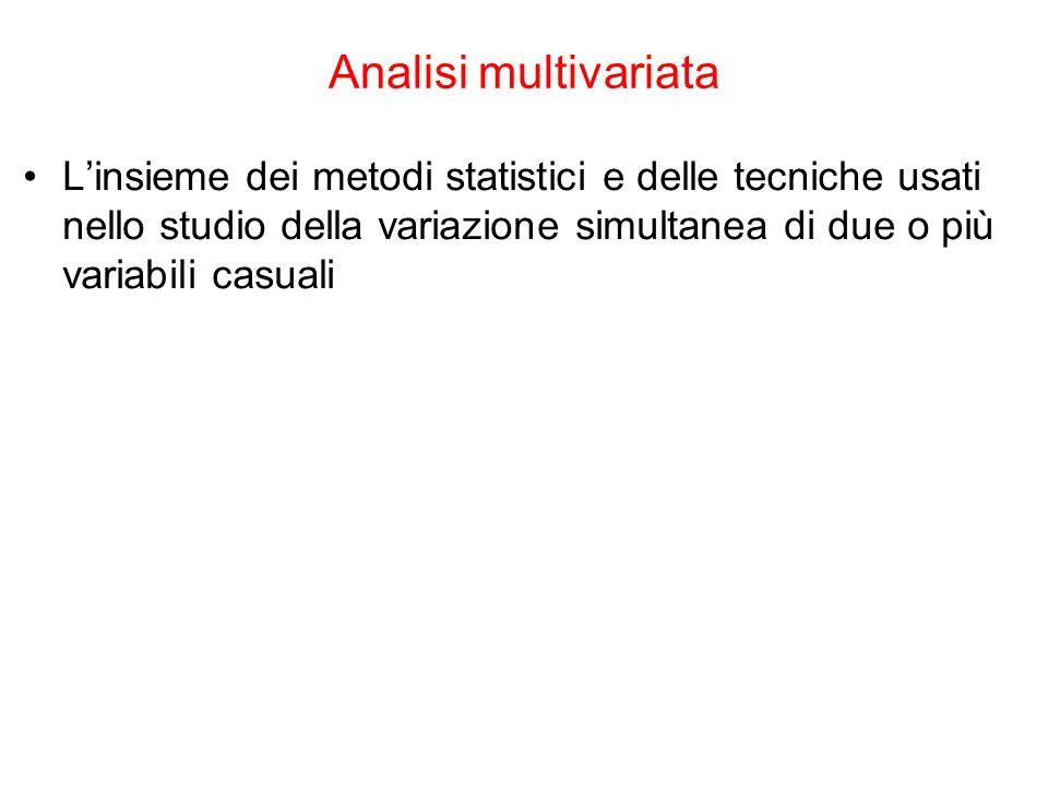 Analisi multivariata L'insieme dei metodi statistici e delle tecniche usati nello studio della variazione simultanea di due o più variabili casuali.
