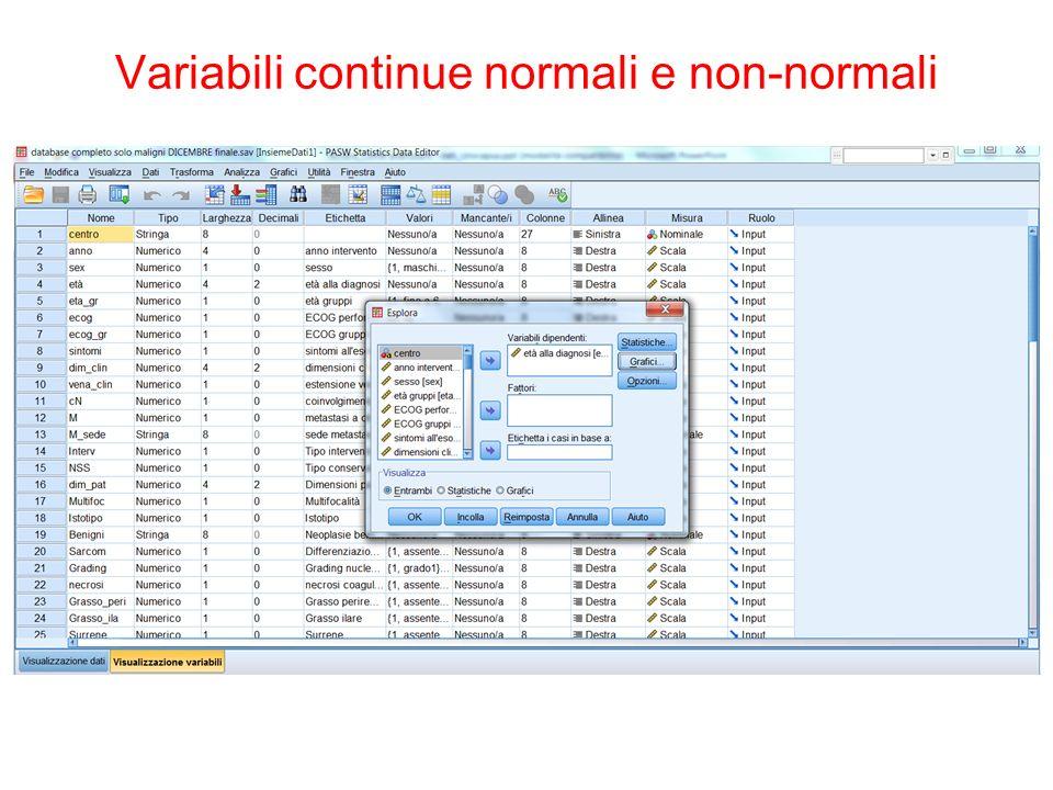 Variabili continue normali e non-normali