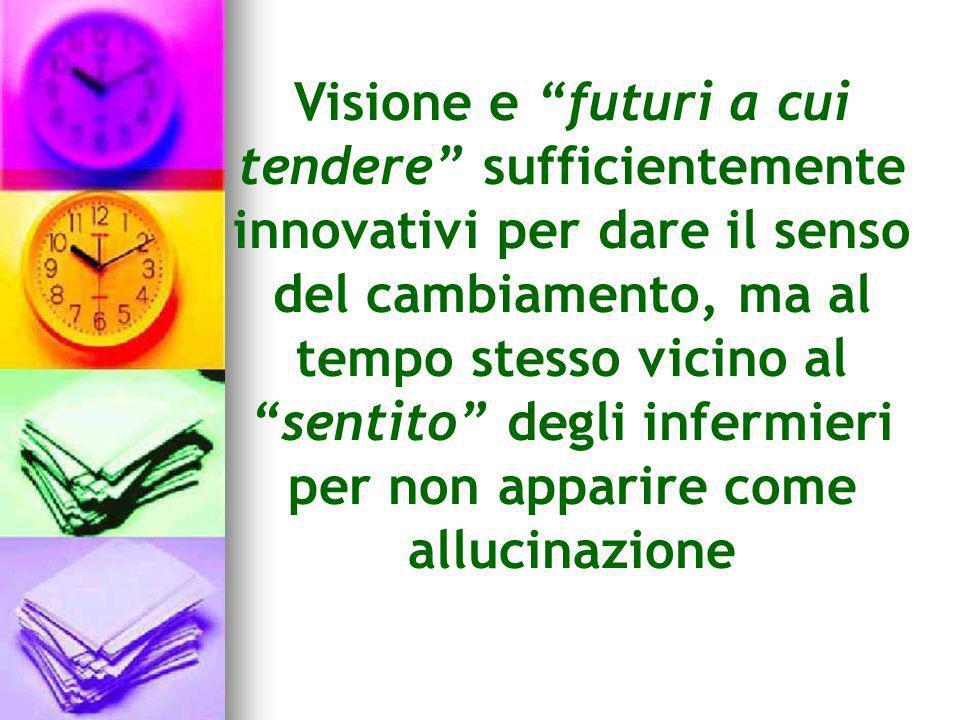Visione e futuri a cui tendere sufficientemente innovativi per dare il senso del cambiamento, ma al tempo stesso vicino al sentito degli infermieri per non apparire come allucinazione