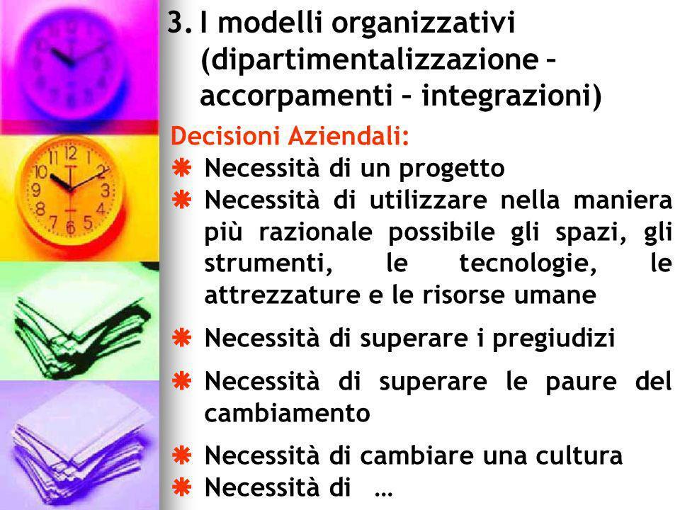 I modelli organizzativi (dipartimentalizzazione – accorpamenti – integrazioni)