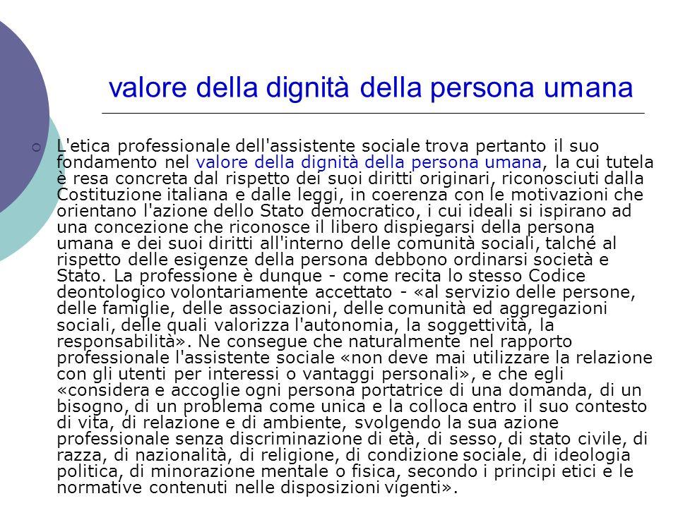 valore della dignità della persona umana