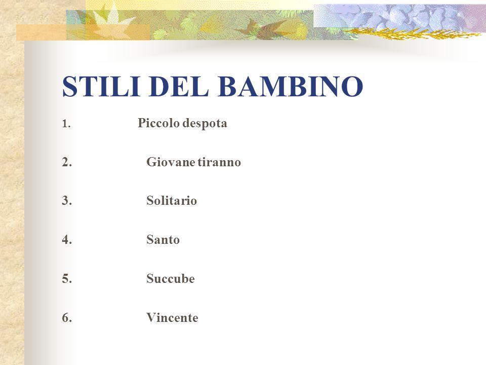 STILI DEL BAMBINO 2. Giovane tiranno 3. Solitario 4. Santo 5. Succube