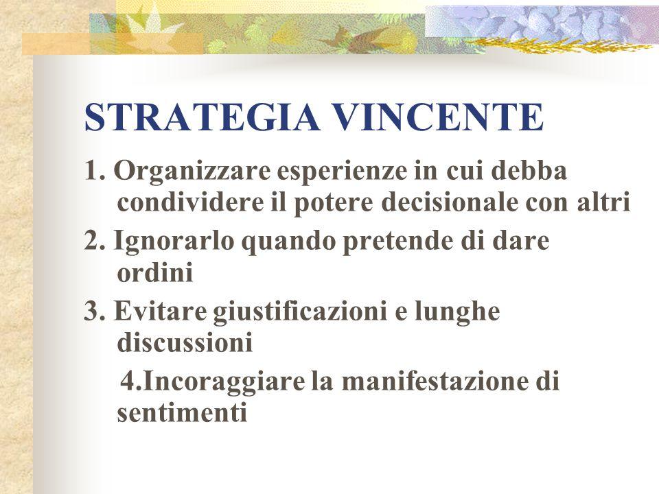 STRATEGIA VINCENTE1. Organizzare esperienze in cui debba condividere il potere decisionale con altri.