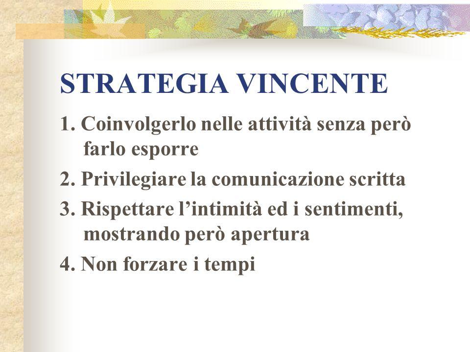 STRATEGIA VINCENTE1. Coinvolgerlo nelle attività senza però farlo esporre. 2. Privilegiare la comunicazione scritta.