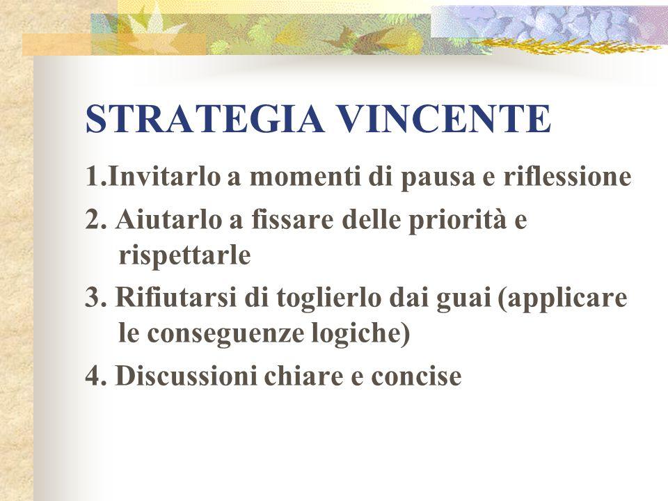 STRATEGIA VINCENTE 1.Invitarlo a momenti di pausa e riflessione