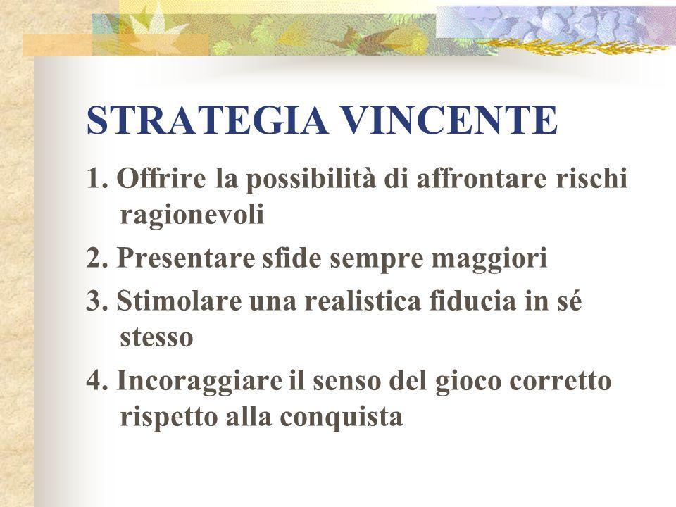 STRATEGIA VINCENTE 1. Offrire la possibilità di affrontare rischi ragionevoli. 2. Presentare sfide sempre maggiori.