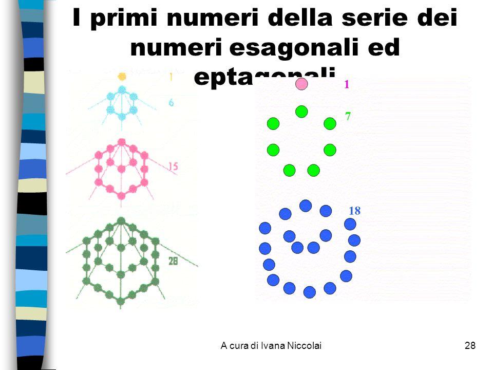 I primi numeri della serie dei numeri esagonali ed eptagonali