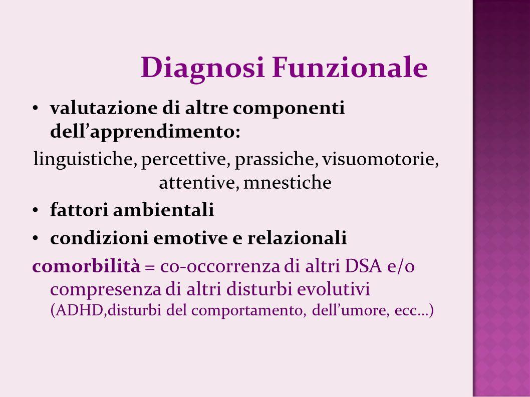 Diagnosi Funzionalevalutazione di altre componenti dell'apprendimento: linguistiche, percettive, prassiche, visuomotorie, attentive, mnestiche.