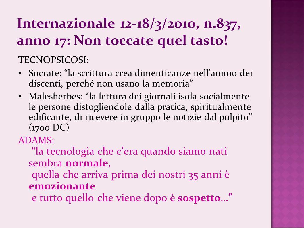 Internazionale 12-18/3/2010, n.837, anno 17: Non toccate quel tasto!