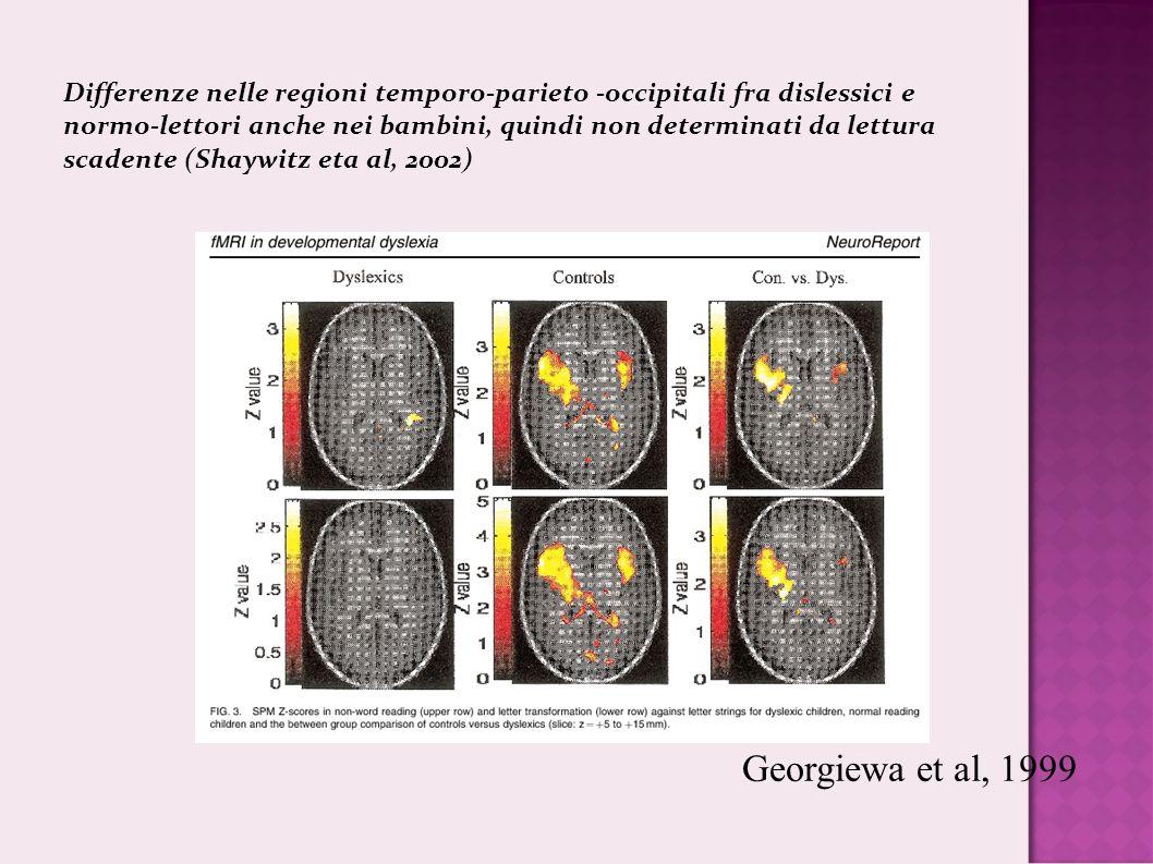 Differenze nelle regioni temporo-parieto -occipitali fra dislessici e normo-lettori anche nei bambini, quindi non determinati da lettura scadente (Shaywitz eta al, 2002)