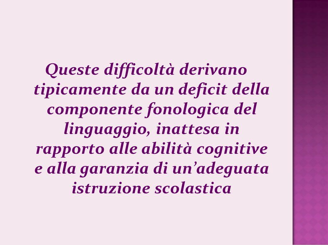 Queste difficoltà derivano tipicamente da un deficit della componente fonologica del linguaggio, inattesa in rapporto alle abilità cognitive e alla garanzia di un'adeguata istruzione scolastica