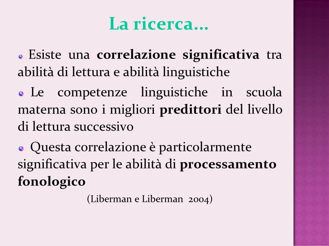 La ricerca... Esiste una correlazione significativa tra abilità di lettura e abilità linguistiche.