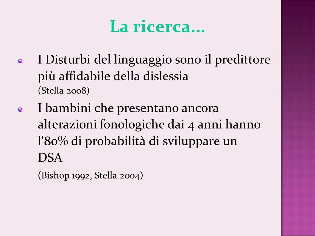 La ricerca... I Disturbi del linguaggio sono il predittore più affidabile della dislessia (Stella 2008)