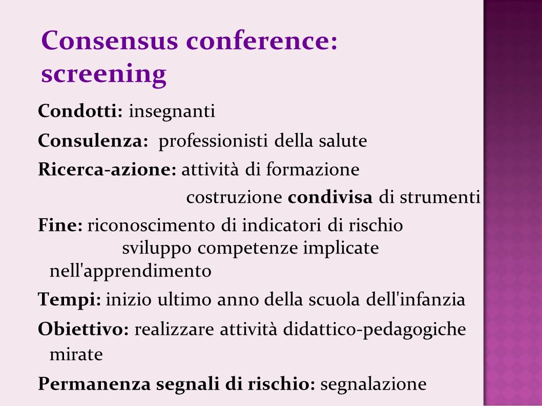 Consensus conference: screening