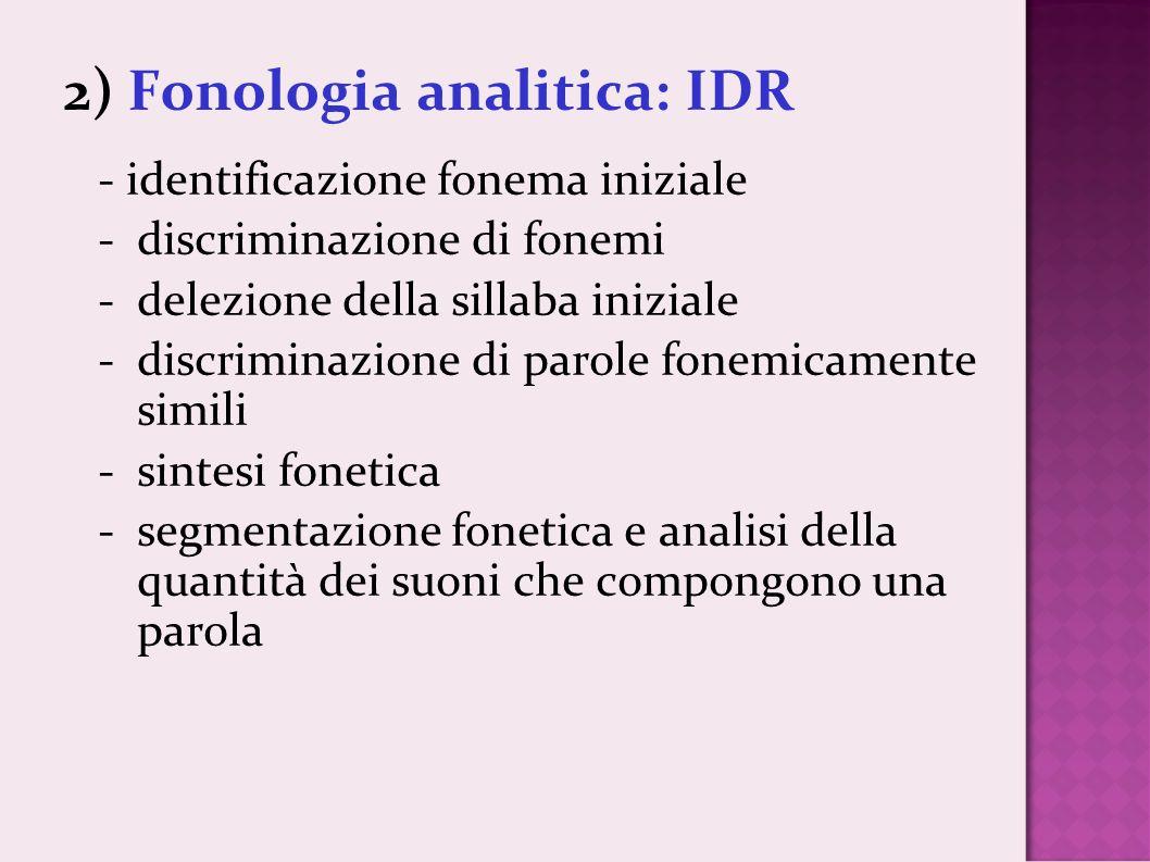 2) Fonologia analitica: IDR