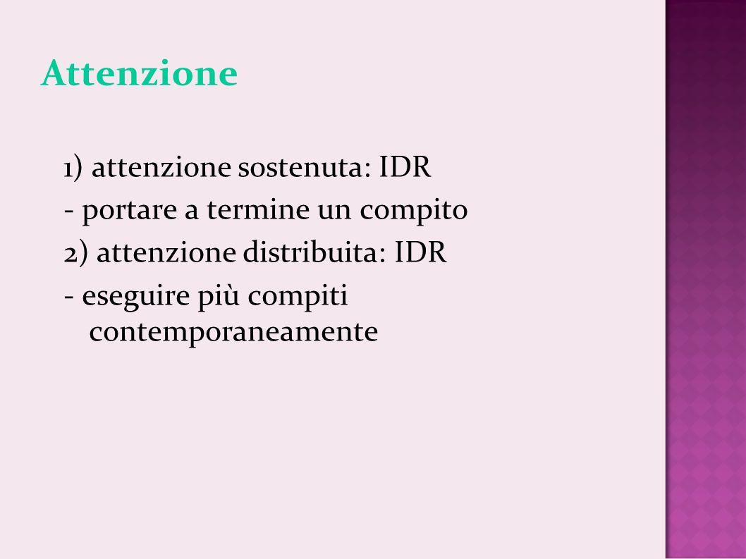 Attenzione 1) attenzione sostenuta: IDR - portare a termine un compito