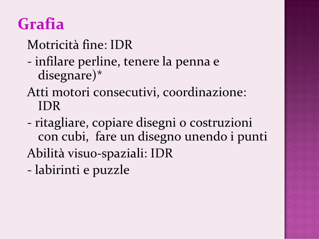 Grafia Motricità fine: IDR