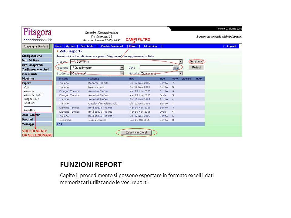 FUNZIONI REPORTCapito il procedimento si possono esportare in formato excell i dati memorizzati utilizzando le voci report .