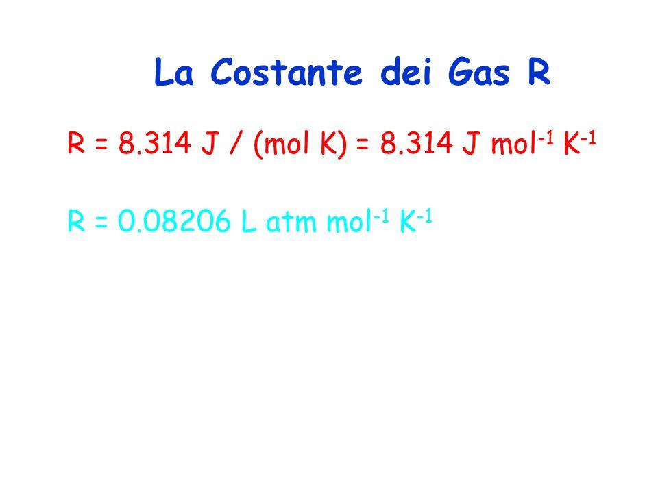 La Costante dei Gas R R = 8.314 J / (mol K) = 8.314 J mol-1 K-1