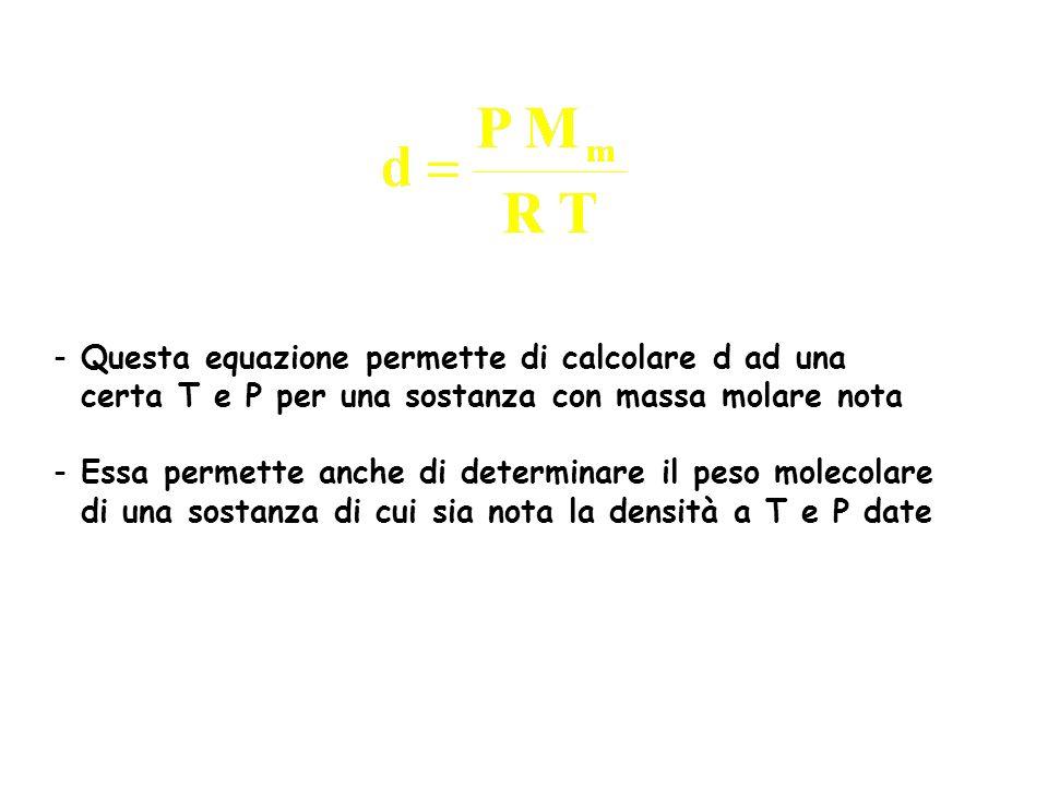 Questa equazione permette di calcolare d ad una
