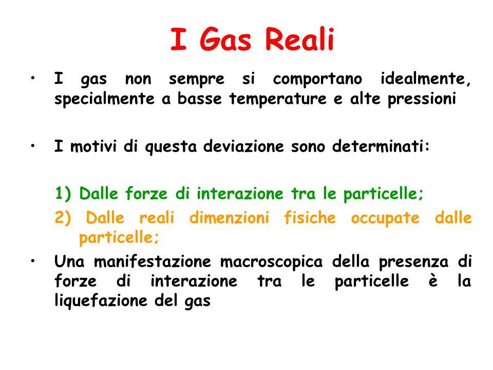 I Gas Reali I gas non sempre si comportano idealmente, specialmente a basse temperature e alte pressioni.