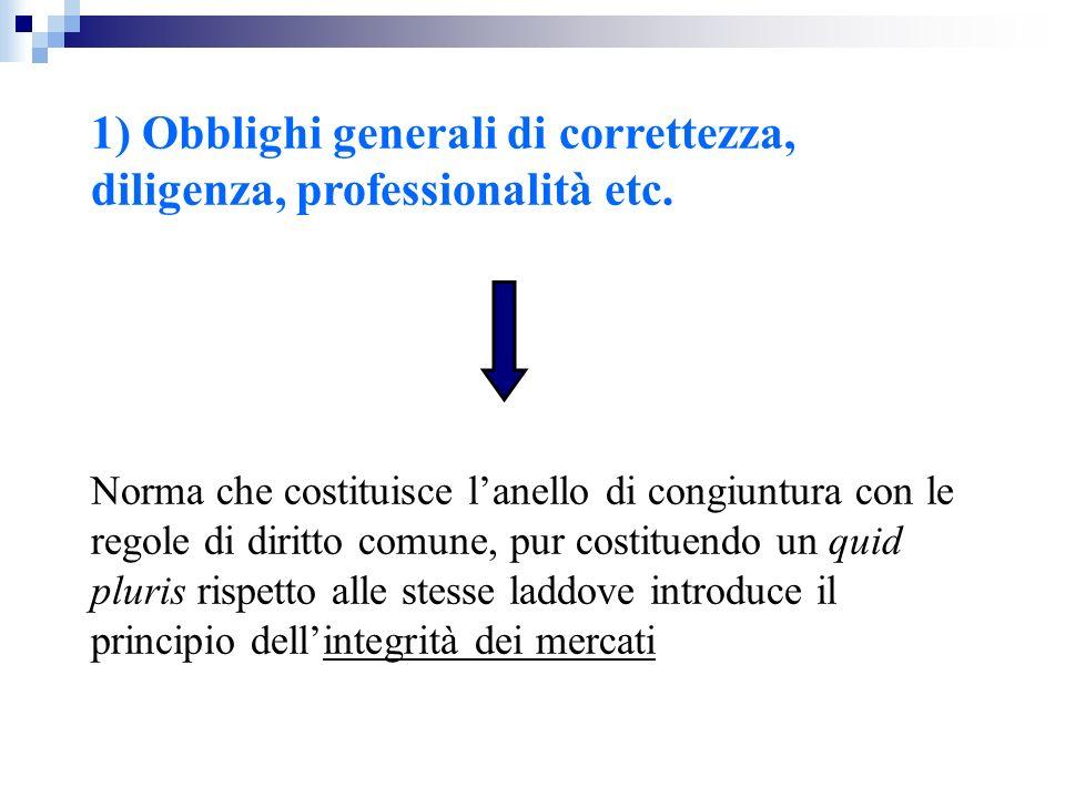 1) Obblighi generali di correttezza, diligenza, professionalità etc.