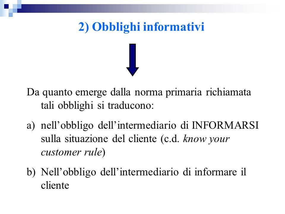 2) Obblighi informativi
