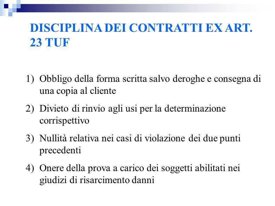 DISCIPLINA DEI CONTRATTI EX ART. 23 TUF