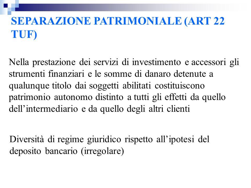 SEPARAZIONE PATRIMONIALE (ART 22 TUF)
