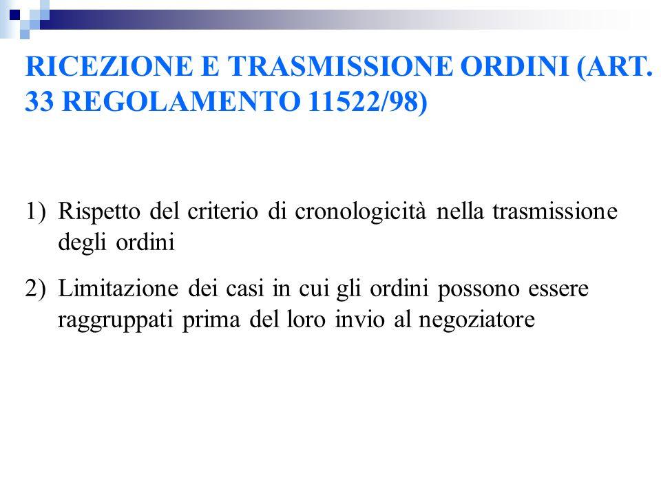 RICEZIONE E TRASMISSIONE ORDINI (ART. 33 REGOLAMENTO 11522/98)