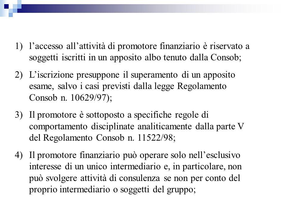l'accesso all'attività di promotore finanziario è riservato a soggetti iscritti in un apposito albo tenuto dalla Consob;