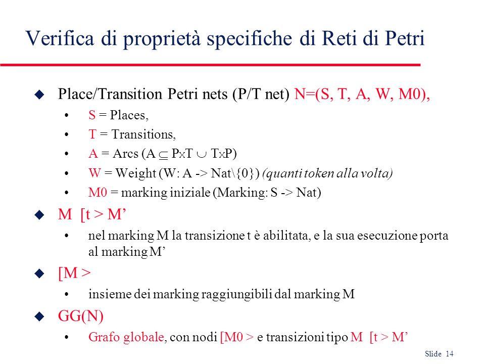 Verifica di proprietà specifiche di Reti di Petri