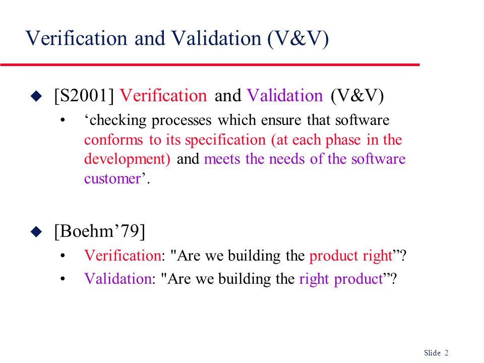 Verification and Validation (V&V)