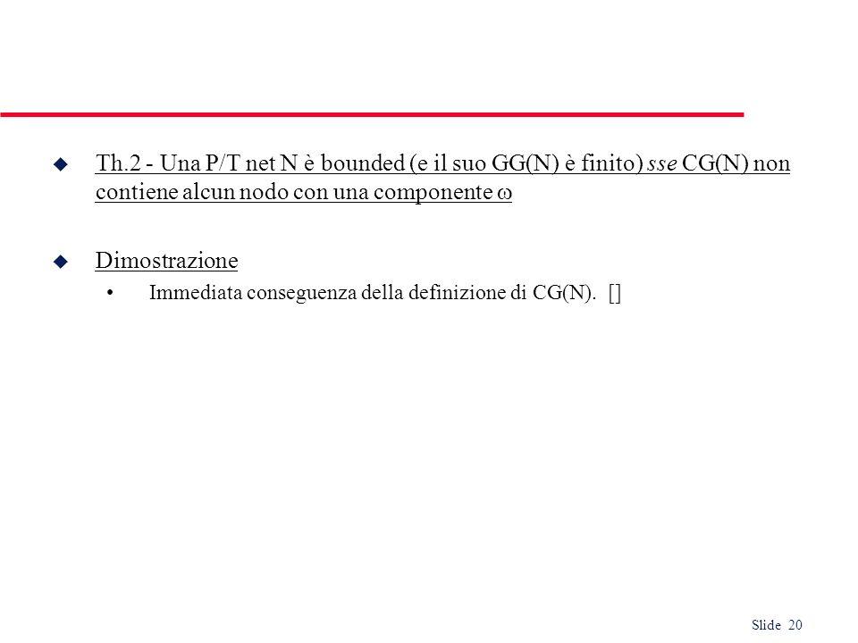Th.2 - Una P/T net N è bounded (e il suo GG(N) è finito) sse CG(N) non contiene alcun nodo con una componente 