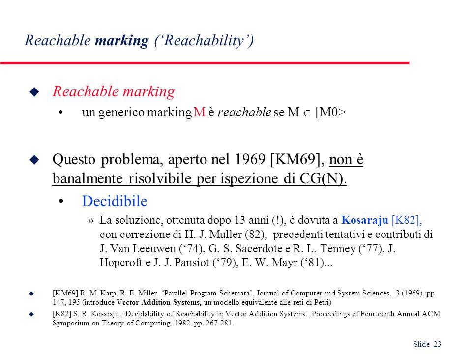 Reachable marking ('Reachability')