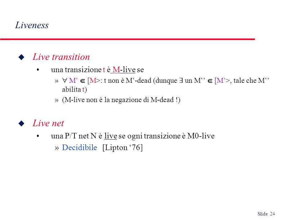 Liveness Live transition Live net una transizione t è M-live se