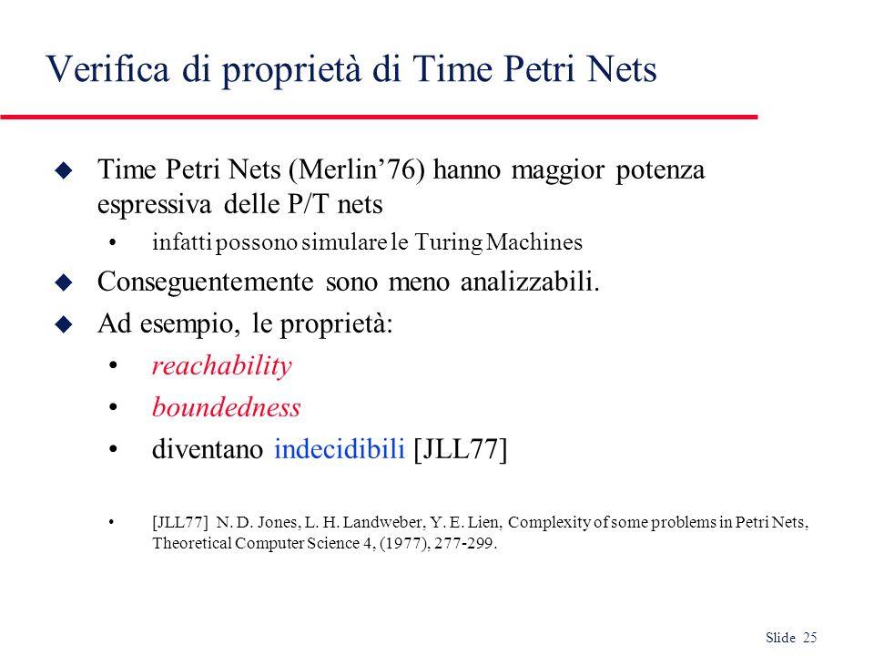 Verifica di proprietà di Time Petri Nets