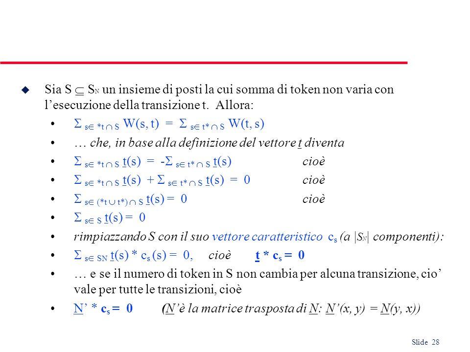 Sia S  SN un insieme di posti la cui somma di token non varia con l'esecuzione della transizione t. Allora: