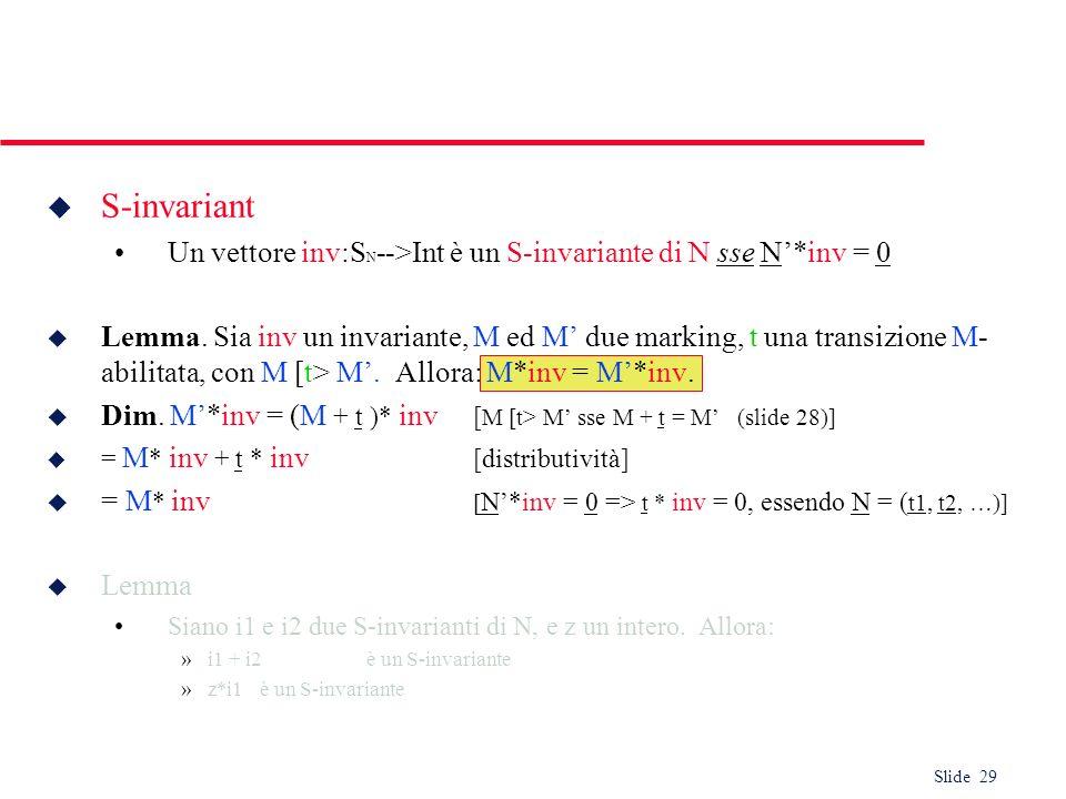 S-invariantUn vettore inv:SN-->Int è un S-invariante di N sse N'*inv = 0.
