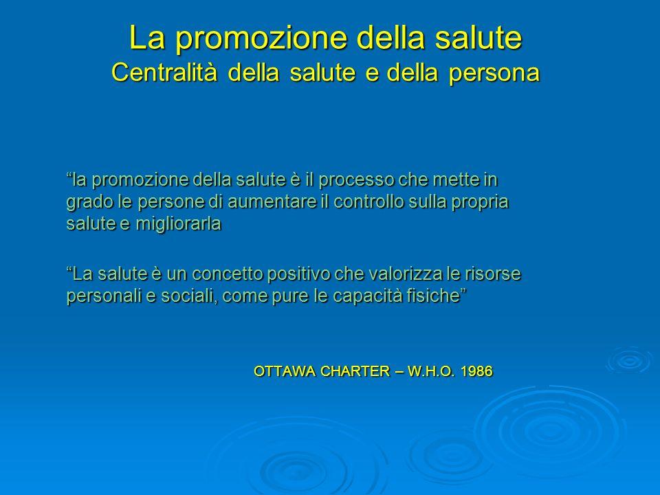 La promozione della salute Centralità della salute e della persona