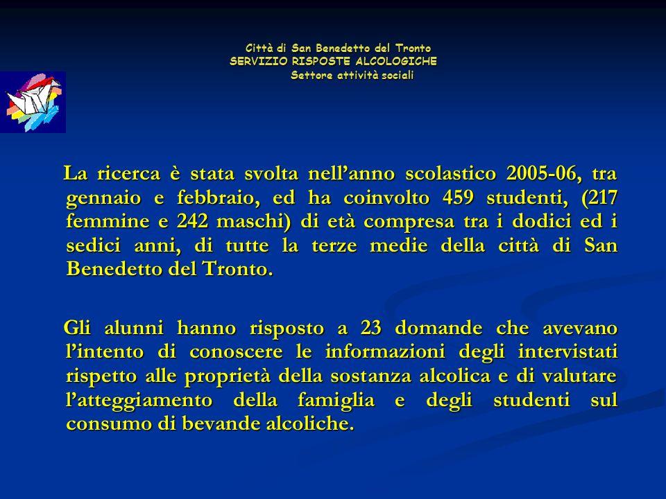 Città di San Benedetto del Tronto SERVIZIO RISPOSTE ALCOLOGICHE Settore attività sociali